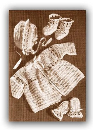 Baby Flower Sacque Booties Bonnet Mitts Layette Vintage Crochet EBook Download