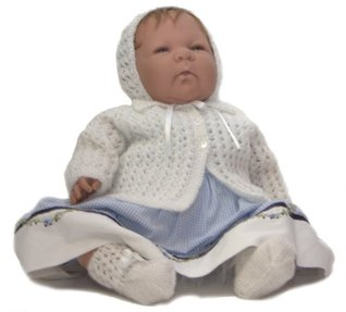 White Lacey Baby's Matinee Coat, Hat and Bootees Knitting Pattern #0906