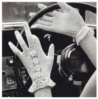#1391 GLOVES WITH ROSETTE DECORATION VINTAGE CROCHET PATTERN