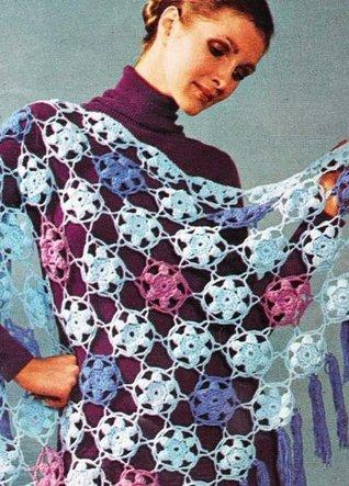 Spring Bouquet Crochet Flower Shawl Stole Pattern