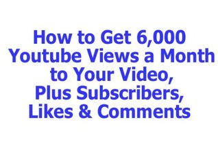 How To Get 6000 Views a Month to Your Youtube Video Plus Subscribers, Likes & Comments