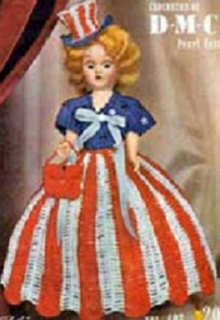 MISS AMERICA USA DOLL - A Vintage 1951 Crochet Pattern...Kindle eBook download...crafts, dolly, toy, girl, American, United States