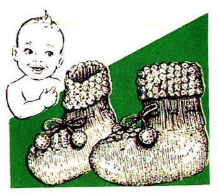 Stay-On Booties Baby Shoes Vintage Knit Knitting Pattern EBook Download