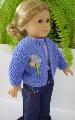 Hand Knitting Pattern Blue Cardigan For American Girl Doll By Irene