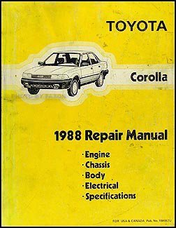 1988 Toyota Corolla Repair Shop Manual Original