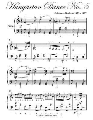 Hungarian Dance No. 5 Elementary Piano Sheet Music