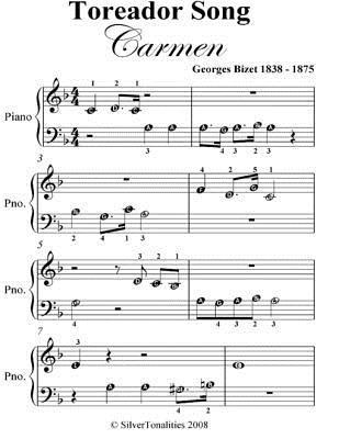 Toreador Song Carmen Beginner Piano Sheet Music