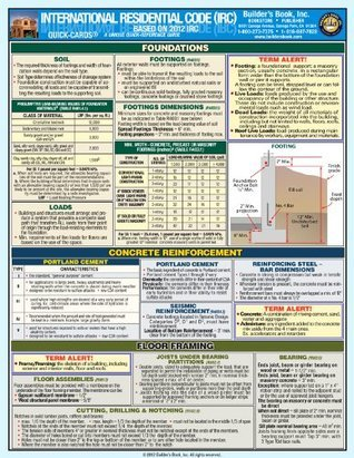 International Residential Code 2012 IRC--Laminated Quick-Card