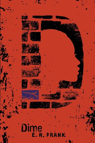 Book cover: black bricks in the shape of a D over a red background reveal the profile of a young girl looking resolutely ahead