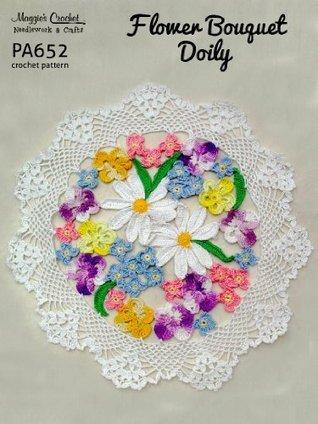 Crochet Pattern Flower Bouquet Doily PA652-R