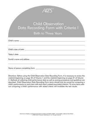 AEPS Child Observation Data Recording Form For Birth To Three Years