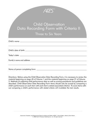 AEPS Child Observation Data Recording Form For Three To Six Years