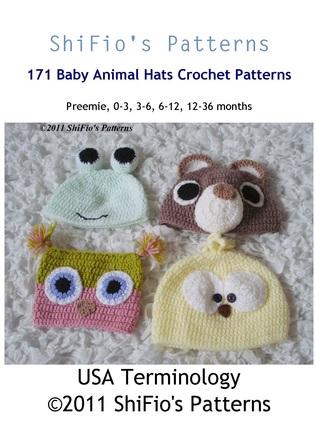 171 Baby Animal Hats Crochet Pattern Usa By Shifios Patterns