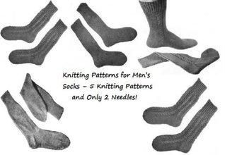 Chaussettes tricot pour hommes - 4 modèles de tricot et aiguilles seulement 2 !