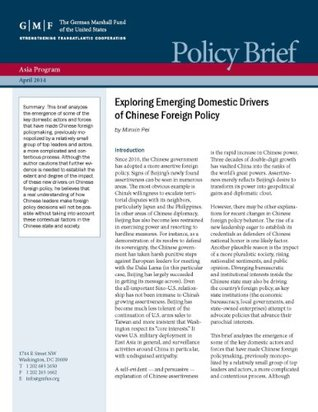 Exploring Emerging Domestic Drivers of Chinese Foreign Policy (Asia Policy Briefs)