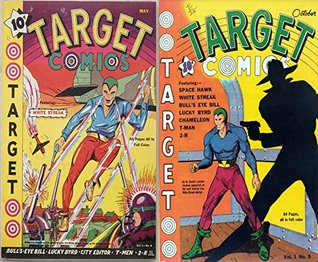 Target Comics. Issues 4 and 9. Featuring white streak, bull's eye bill, lucky bird, city editor, t-men and more. Golden Age digital comics superheroes and Heroines.