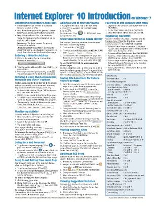 Internet Explorer 10 Introduction for Windows 7 Quick Reference Guide