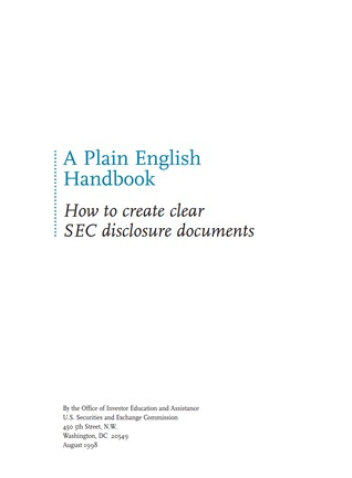 A plain English handbook : how to create clear SEC disclosure documents.
