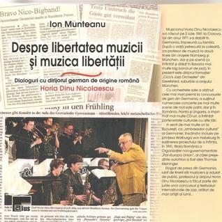 Despre libertatea muzicii si muzica libertatii