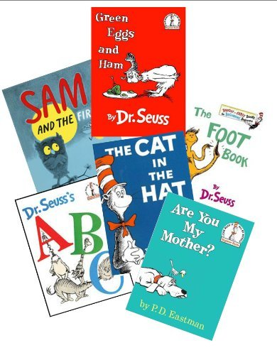 Dr. Seuss Book Set (6) : The Cat in the Hat - Green Eggs and Ham - Are You My Mother - Sam and the Firefly - Abc - The Foot Book