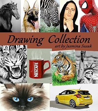Drawing Collection art by Jasmina Susak: Portfolio Book with drawings by artist Jasmina Susak, graphite pencil and colored pencil drawings, people, celebrities, animals, nature, cars, vehicles, food,
