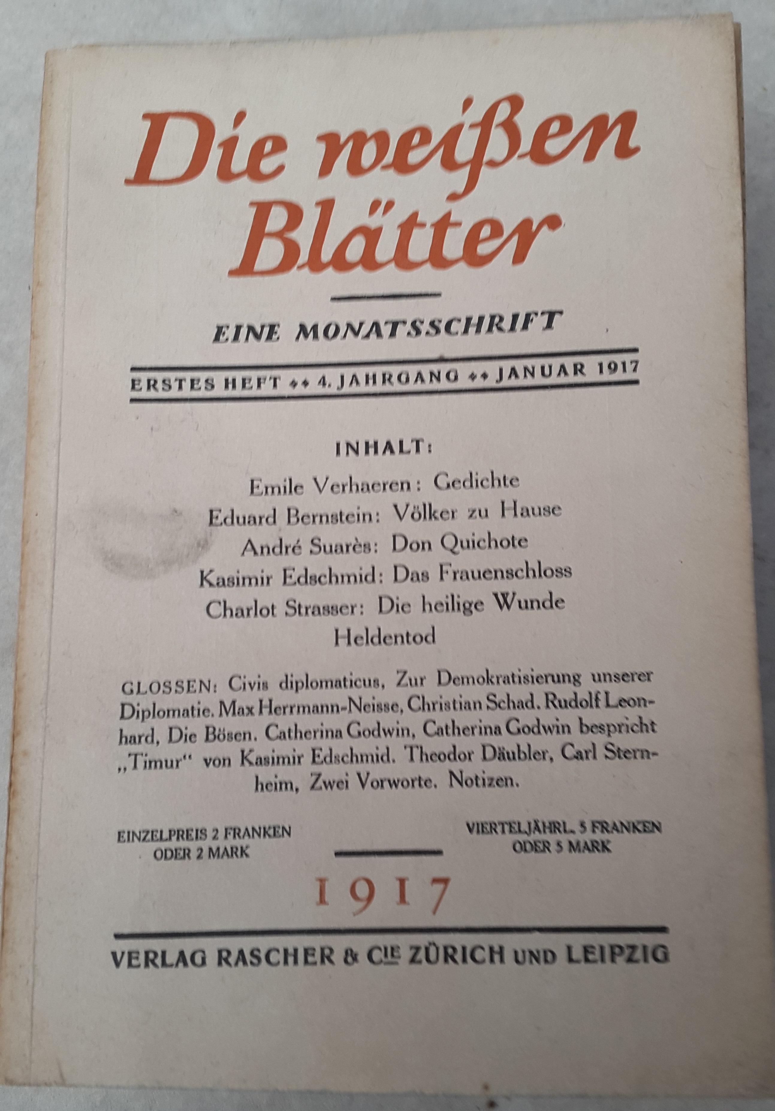 Die weißen Blätter: eine Monatsschrift, 4. Jahrg., Heft 1, Jan. 1917
