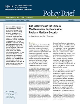 Gas Discoveries in the Eastern Mediterranean: Implications for Regional Maritime Security