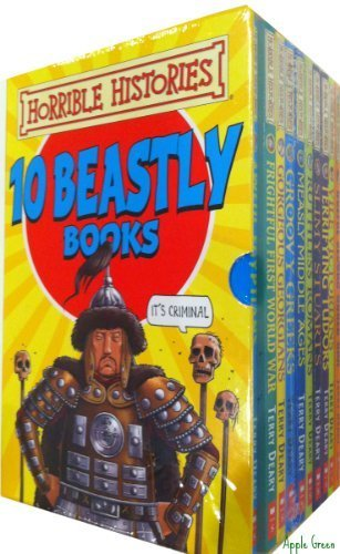 Horrible Histories 10 Book Box Set Ruthless Romans, Awful Egyptians, Groov