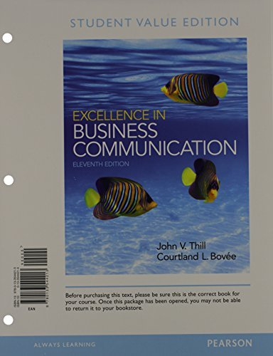 Excellence in Business Communication, Student Value Edition Plus 2014 MyBCommLab with Pearson eText -- Access Card Package (11th Edition)
