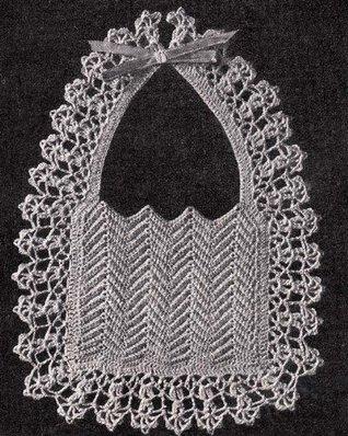 Ripple Baby Bib with Deep Shell Border Vintage Crochet Pattern EBook Download