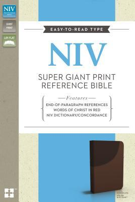 NIV, Super Giant Print Reference Bible, Giant Print, Leathersoft, Brown, Red Letter Edition