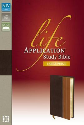 NIV, Life Application Study Bible, Second Edition, Large Print, Leathersoft, Brown/Tan, Red Letter Edition, Indexed