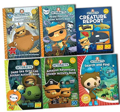 Octonauts Childrens Activity Collection 6 Books Pack Set (Search and Find, Pirate Playtime Sticker Activity Book, Deep Sea Octo-lab Sticker Activity Book, Amazon Adventure Sticker Book, Desert Island Doodle and Sticker Book, Creature Report)