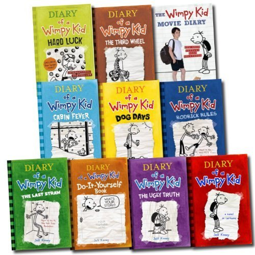 Jeff Kinney 10 Books Set Diary of a Wimpy Kid Collection (Hard Luck, Movie Di...