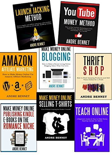 Launch Jacking Method / Youtube Money Method / Amazon Affiliate Marketing / Make Money Online Blogging / Thrift Shop / Make Money Online Publishing Kindle E-Books for the Romance Niche / Teach Online / Make Money Online Selling T-Shirts