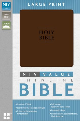 NIV, Value Thinline Bible, Large Print, Imitation Leather, Brown