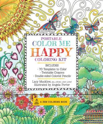 Portable Color Me Happy Coloring Kit: Includes Book, Colored Pencils and Twistable Crayons