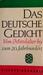 Das deutsche Gedicht. Vom Mittelalter bis zum 20. Jahrhundert
