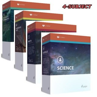 LifePac, Grade 7, AOP 4-Subject Box Set (Math, Language, Science & History / Geography, Alpha Omega, 7TH GRADE, HomeSchooling CURRICULUM, New Life Pac