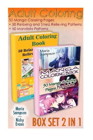 Adult Coloring Box Set 2 in 1 50 Manga Coloring Pages 50 Relaxing