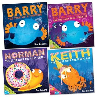 Sue Hendra Pack, 4 books, RRP £23.96 (Barry The Fish With Fingers and The Hairy Scary Monster; Barry The Fish With Fingers; Keith the Cat With the Magic Hat; Norman the Slug With The Sillly Shell).