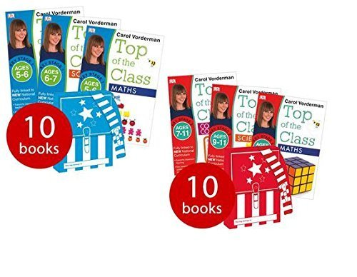 Carol Vorderman Top of the Class KS1 and KS2 Collection 20 Books Set (Science, English, Spelling, Maths Beginner and Maths Advanced Ages 5 - 7 and Maths, French, Science and English Ages 7 - 11)