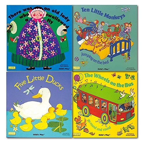 There was an old lady who swallowed a fly, Nursery Song and Rhymes Childrens Collection Books Set, (Classic Books with Holes Board Book) (Ten Little Monkeys jumping on the bed, The wheels on the bus go round and round & Five Little Ducks)