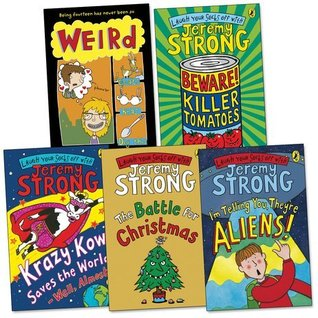 Jeremy Strong Pack Ages 9-11 Pack, 5 books, RRP £27.95 (Beware! Killer Tomatoes; I'm Telling You They're Aliens; Krazy Kow Saves the World; The Battle For Christmas; Weird).