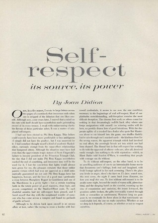 On Self-Respect by Joan Didion