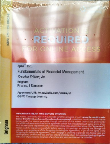 ApliaTM Printed Access Card for Brigham/Houston's Fundamentals of Financial Management, Concise Edition, 8th