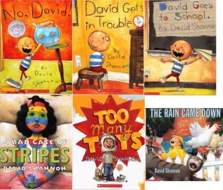 David Shannon Collection Set of 6 Books: A Bad Case of Stripes; David Gets in Trouble; David Goes to School; No, David!; The Rain Came Down; and Too Many Toys