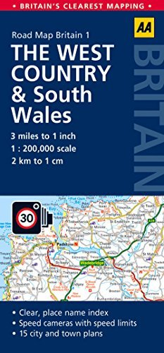 Road Map, The West Country & South Wales (AA Road Map Britain Series - 1)