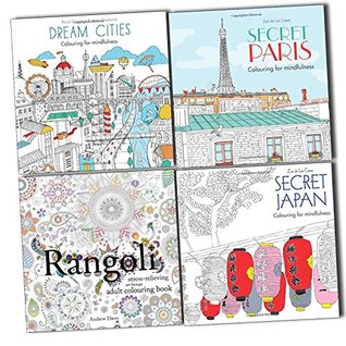 Stress Relieving Art Therapy Adult Colouring For Mindfulness 4 Books Set