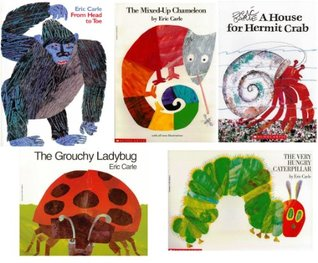 Eric Carle Collection Pack of 5 Books: From Head to Toe, The Grouchy Ladybug, A House for Hermit Crab, The Mixed-Up Chameleon, and The Very Hungry Caterpillar